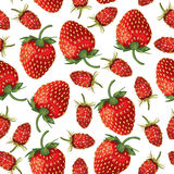 Wild strawberries and strawberries pattern seamless. Seamless pattern of  realistic image of ripe wild strawberries and strawberries Royalty Free Stock Image