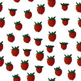 Wild strawberries, vector fruits, seamless background Stock Photography