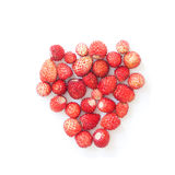 Wild strawberries on white background. Forest red berries formed heart shape. Shallow depth of field. Stock Images