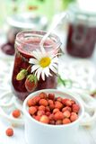 Wild strawberry jam Stock Photos