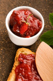 Wild strawberry jam with toast Royalty Free Stock Photography