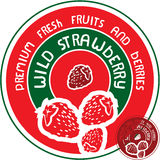 Wild strawberry label Stock Images