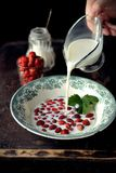 Wild strawberry with milk Royalty Free Stock Image