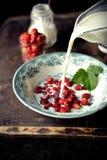 Wild strawberry with milk Royalty Free Stock Photos