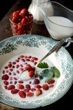 Wild strawberry with milk Stock Image