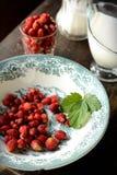 Wild strawberry with milk Stock Photo