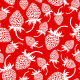 Wild strawberry pattern seamless on red background Royalty Free Stock Image