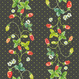 Wild strawberry. Watercolor vector seamless pattern Stock Photography