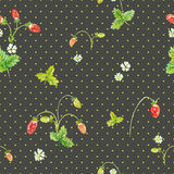 Wild strawberry. Watercolor vector seamless pattern Royalty Free Stock Images