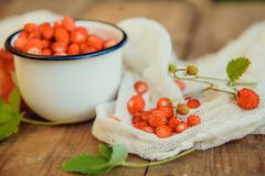 Tea cup with strawberries with red raspberries on white background. Wild strawberry in a white Cup on wooden background Royalty Free Stock Image