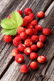 Wild strawberry. On a wooden background stock photos