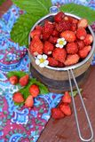 Wild strawberry in a wooden bowl Royalty Free Stock Photo