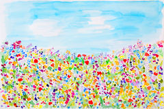 Wild summer flowers watercolor. Hand Drawn and Painted Stock Images