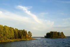 Wild summer lake landscape Stock Photo