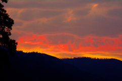 Wild Sunset, Montana, over the Sapphire Mountains. Near Rock Creek Stock Photography