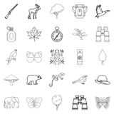 Wild territory icons set, outline style. Wild territory icons set. Outline set of 25 wild territory icons for web isolated on white background Stock Photography