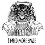 Wild tiger Astronaut. Space suit. Hand drawn image of lion for tattoo, t-shirt, emblem, badge, logo patch kindergarten Vector Illustration