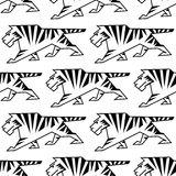 Wild tiger outline seamless pattern Royalty Free Stock Images