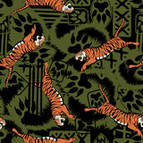 Wild tiger repeat seamless pattern Royalty Free Stock Photos