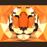 Wild tiger stares forward. Abstract geometric polygonal triangle illustration. Wild tiger stares forward. Nature and animals life theme background. Abstract Stock Photo