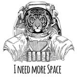 Wild tiger wearing space suit Wild animal astronaut Spaceman Galaxy exploration Hand drawn illustration for t-shirt. Wild animal wearing space suit Wild animal royalty free stock image