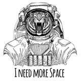 Wild tiger wearing space suit Wild animal astronaut Spaceman Galaxy exploration Hand drawn illustration for t-shirt. Wild animal wearing space suit Wild animal stock photo