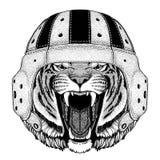 Wild tiger Wild animal wearing rugby helmet Sport illustration Royalty Free Stock Photos