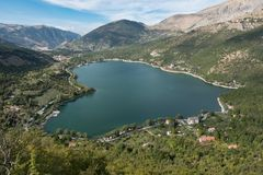 Wild, unspoiled, of immeasurable beauty, Lake Scanno. Lake Scanno is a jewel hidden in the heart of Italy, and it`s worth seeing and discovering it before all Stock Photo