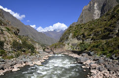 Wild Urubamba river flowing through valley Stock Photography