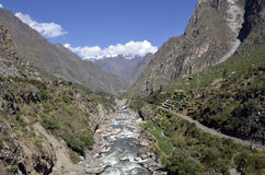 Wild Urubamba river flowing through valley Royalty Free Stock Image