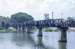 The wild view of the historic bridge on the river kwai in Kancha. Naburi Thailand Stock Images