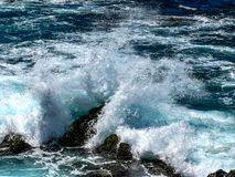 Wild view of the wave playing in the Atlantic stock images