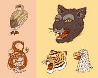 Wild vintage animals. Logo for t-shirt. Asian Tiger, Chinese Dragon, panther, fox, Falcon, Monkey. Translation The name vector illustration