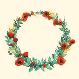 Wild watercolor poppies wreath on light background Royalty Free Stock Image