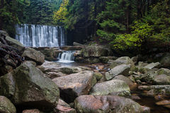 Wild Waterfall in Karkonosze Mountains Royalty Free Stock Photography