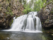 Wild waterfall Myantyukoski, three steps stone cascade in Paanajärvi National Park Royalty Free Stock Photo