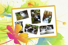 Wild waterfalls collection Royalty Free Stock Image