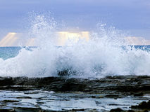 Wild waves, stormy weather and rocks, Australian c Royalty Free Stock Images