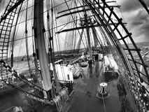 Wild weather at sea on a traditional tallship or sailing vessel Royalty Free Stock Photo