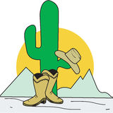 Wild West. Vector drawing of cowboy boot and hat in the desert Stock Image