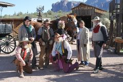 USA, AZ: Old West - Actors in Traditional Outfits Stock Photo