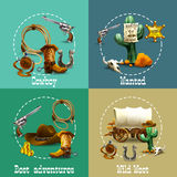 Wild West Adventures Icons Set. Wild west adventures realistic icons set with cowboy and wanted symbols isolated vector illustration Stock Photo