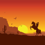 Wild west american desert landscape with cowboy on horse. American wild west desert with cowboy on horse.Vector sunset landscape Stock Image