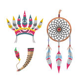 Wild west american indian feather headdress designed element traditional art concept and native tribal ethnic feather. Wild west american indian feather Stock Photography