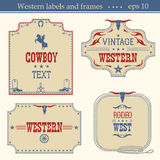 Wild west american labels.Vector vintage boards  on whit Royalty Free Stock Photography