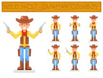 Wild west american retro gunman cowboy flat design characters set isolated icons vector illustration. Wild west american retro cowboy gunman flat design Royalty Free Stock Photo