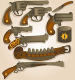 Wild west arms collection. Vector collection set of different wild west arms, bullets and a holster belt Royalty Free Stock Photography