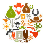 Wild west background with cowboy objects and. Design elements royalty free illustration