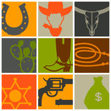 Wild west background with cowboy objects and. Design elements stock illustration