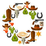 Wild west background with cowboy objects and Stock Image
